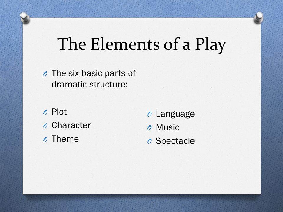 The Elements of a Play O The six basic parts of dramatic structure: O Plot O Character O Theme O Language O Music O Spectacle