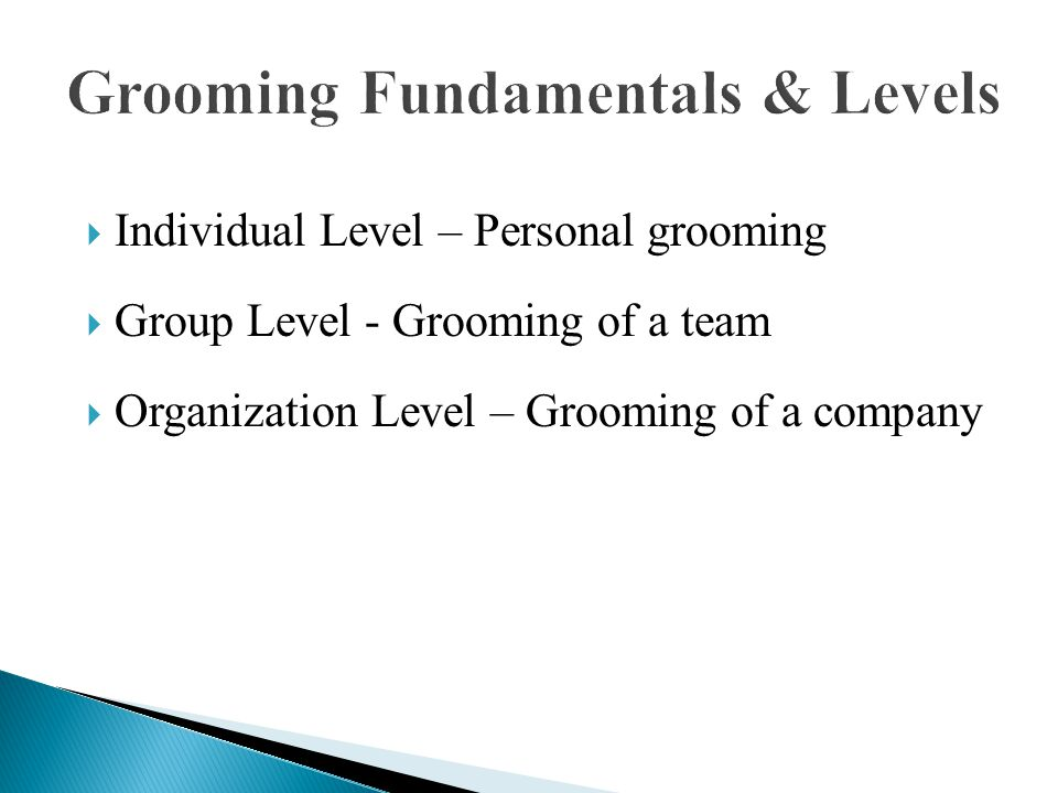  Individual Level – Personal grooming  Group Level - Grooming of a team  Organization Level – Grooming of a company