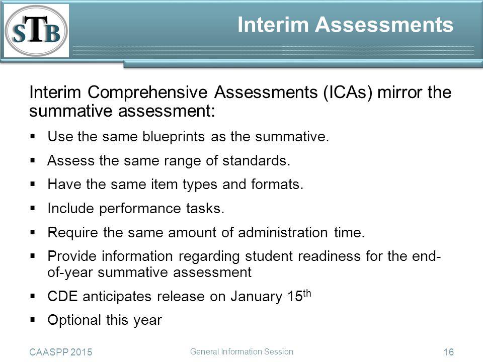 Interim Assessments Interim Comprehensive Assessments (ICAs) mirror the summative assessment:  Use the same blueprints as the summative.