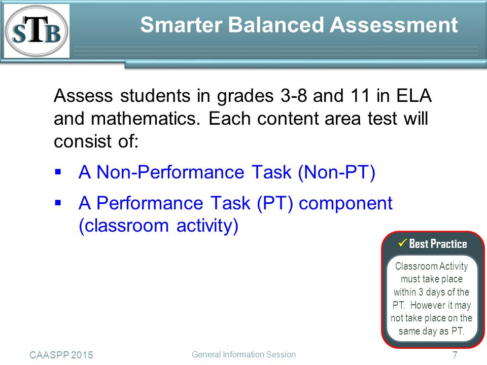Assess students in grades 3-8 and 11 in ELA and mathematics.