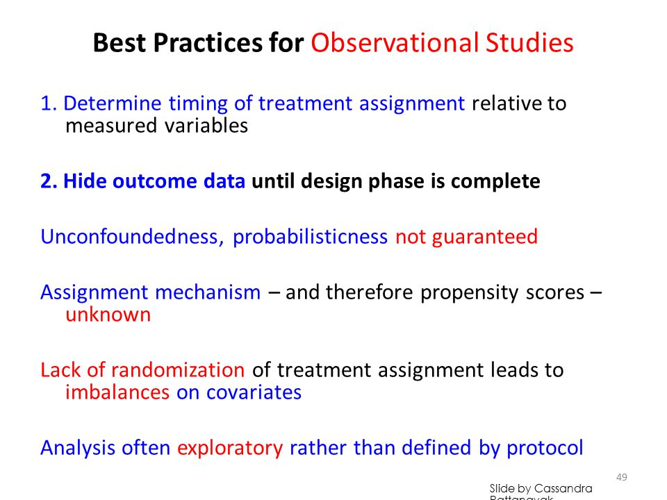 Best Practices for Observational Studies 1.