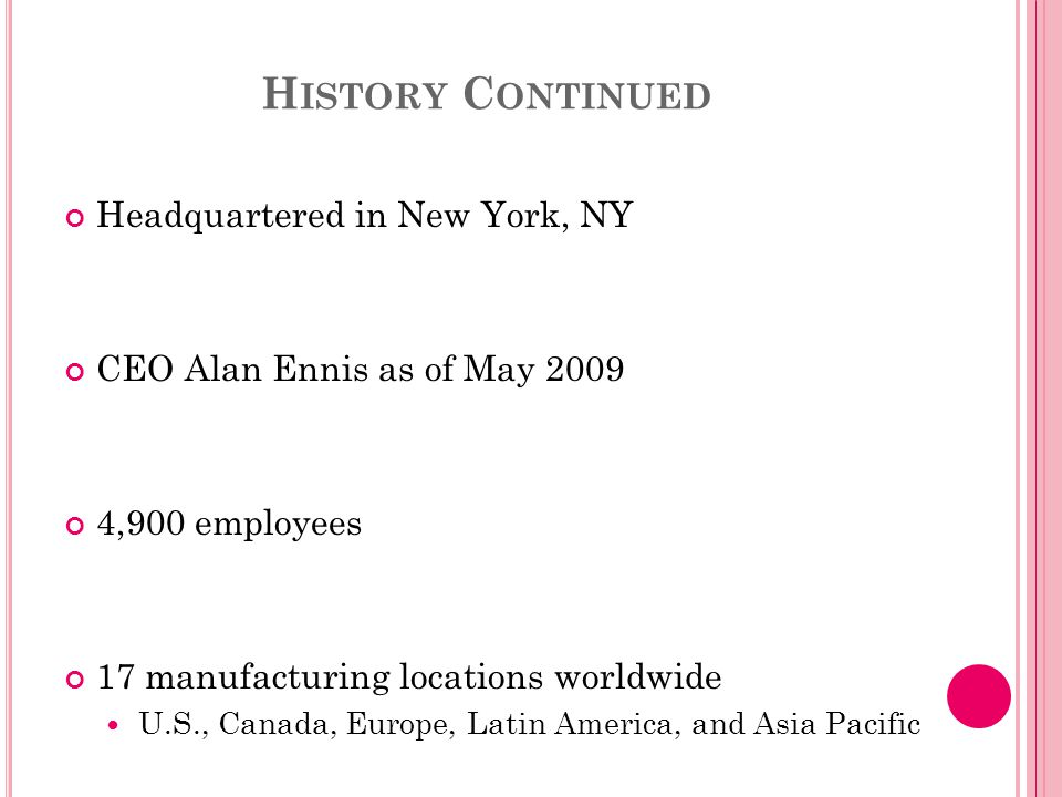 H ISTORY C ONTINUED Headquartered in New York, NY CEO Alan Ennis as of May 2009 4,900 employees 17 manufacturing locations worldwide U.S., Canada, Europe, Latin America, and Asia Pacific