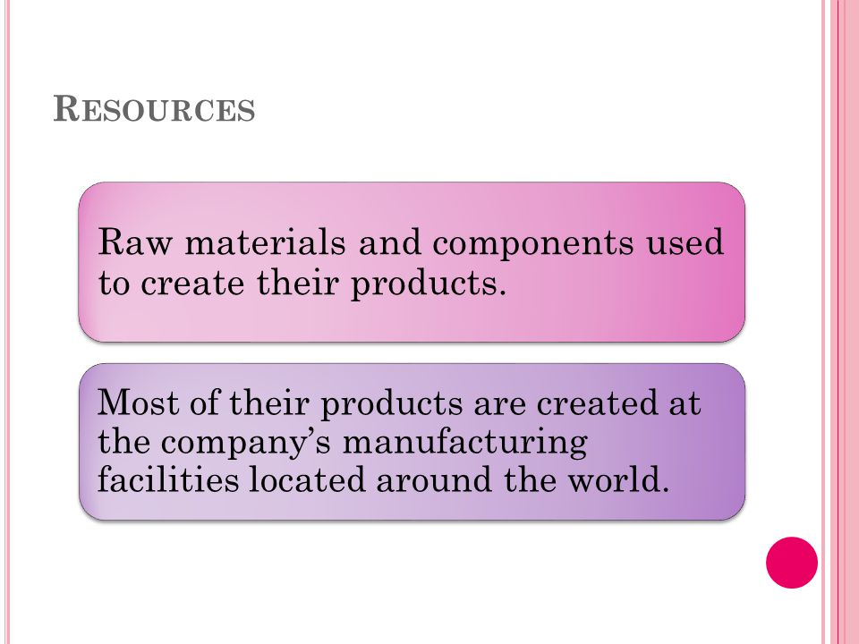 R ESOURCES Raw materials and components used to create their products.
