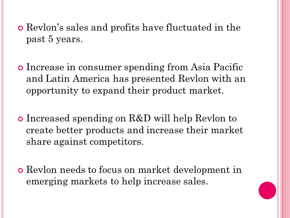 Revlon's sales and profits have fluctuated in the past 5 years.