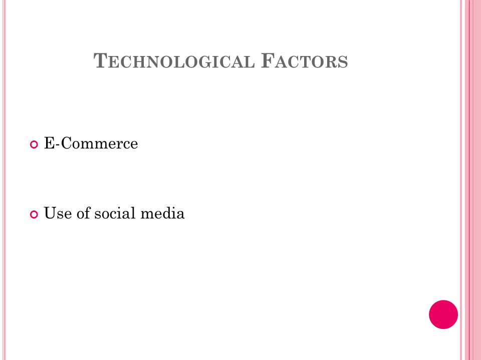 T ECHNOLOGICAL F ACTORS E-Commerce Use of social media
