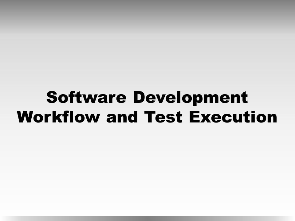 Software Development Workflow and Test Execution