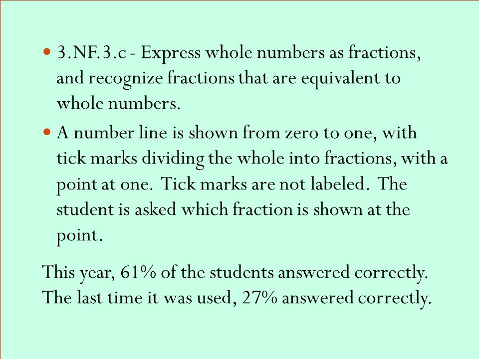 3.NF.3.c - Express whole numbers as fractions, and recognize fractions that are equivalent to whole numbers.