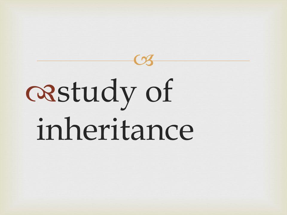   study of inheritance