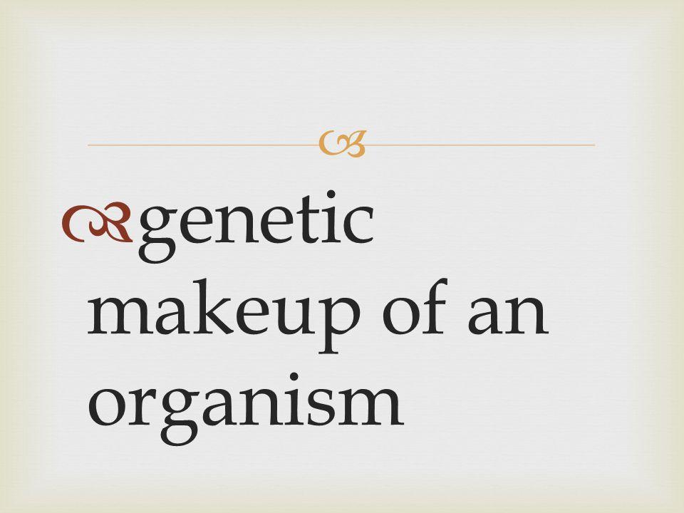   genetic makeup of an organism