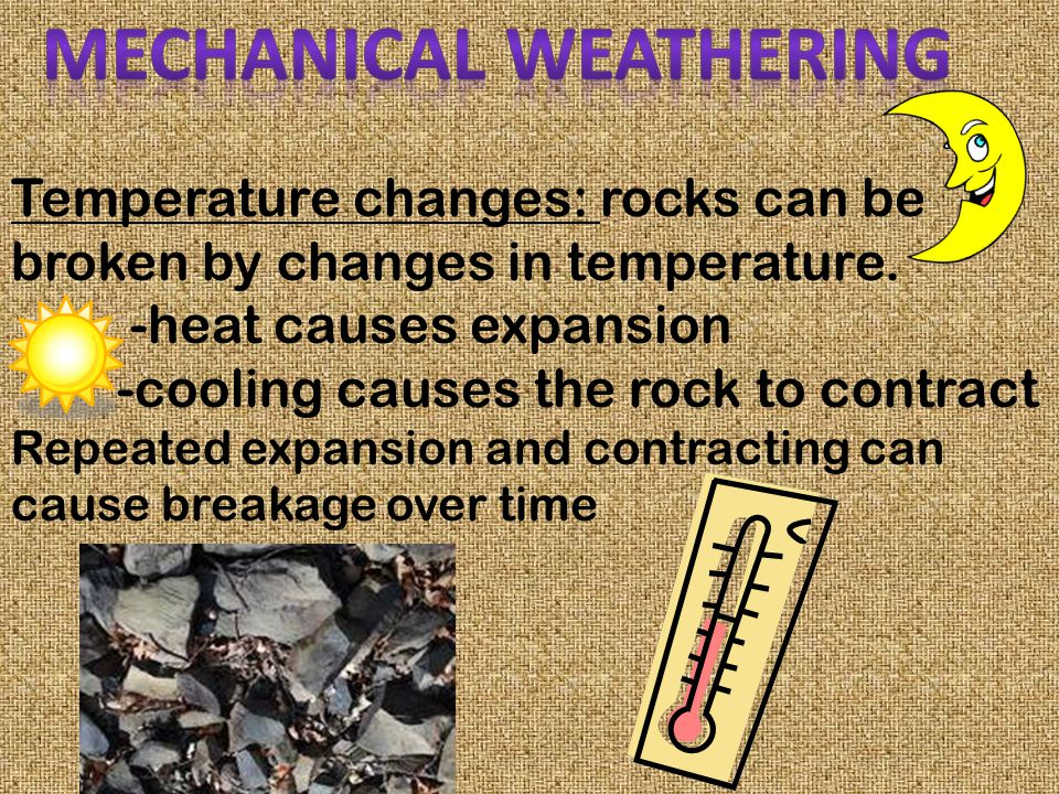 Mechanical weathering involves only physical changes, such as alterations in size and shape. The chemical makeup of the rock does not change! Ex: ripp