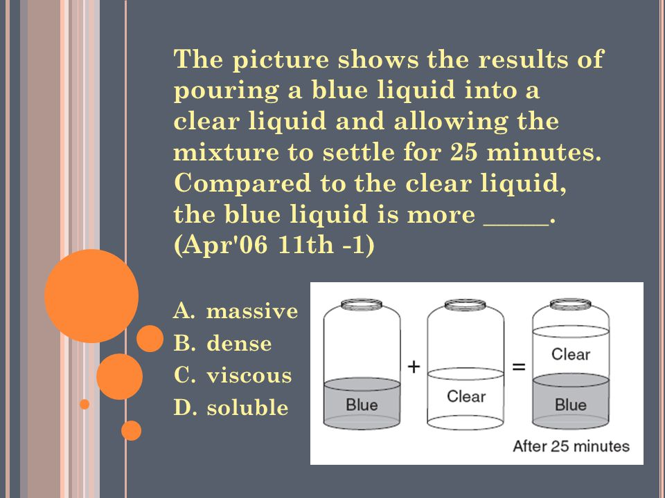 The picture shows the results of pouring a blue liquid into a clear liquid and allowing the mixture to settle for 25 minutes.