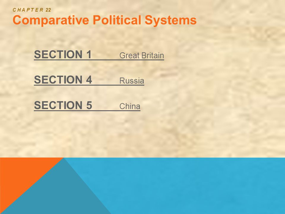 C H A P T E R 22 Comparative Political Systems SECTION 1 Great Britain SECTION 4 Russia SECTION 5 China