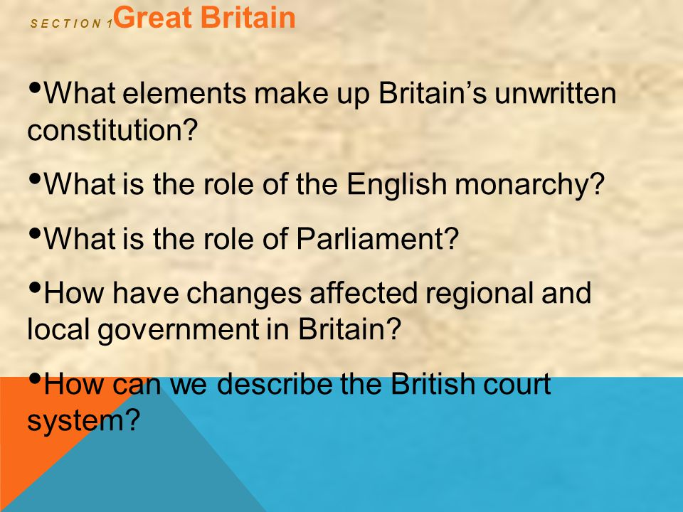 S E C T I O N 1 Great Britain What elements make up Britain's unwritten constitution? What is the role of the English monarchy? What is the role of Pa