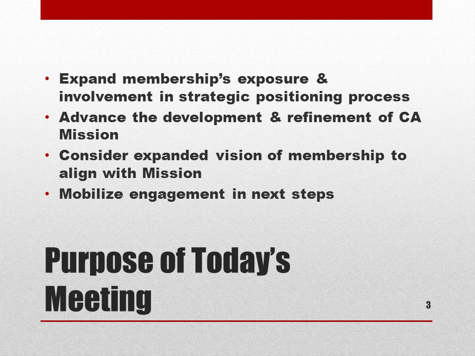 Purpose of Today's Meeting Expand membership's exposure & involvement in strategic positioning process Advance the development & refinement of CA Mission Consider expanded vision of membership to align with Mission Mobilize engagement in next steps 3
