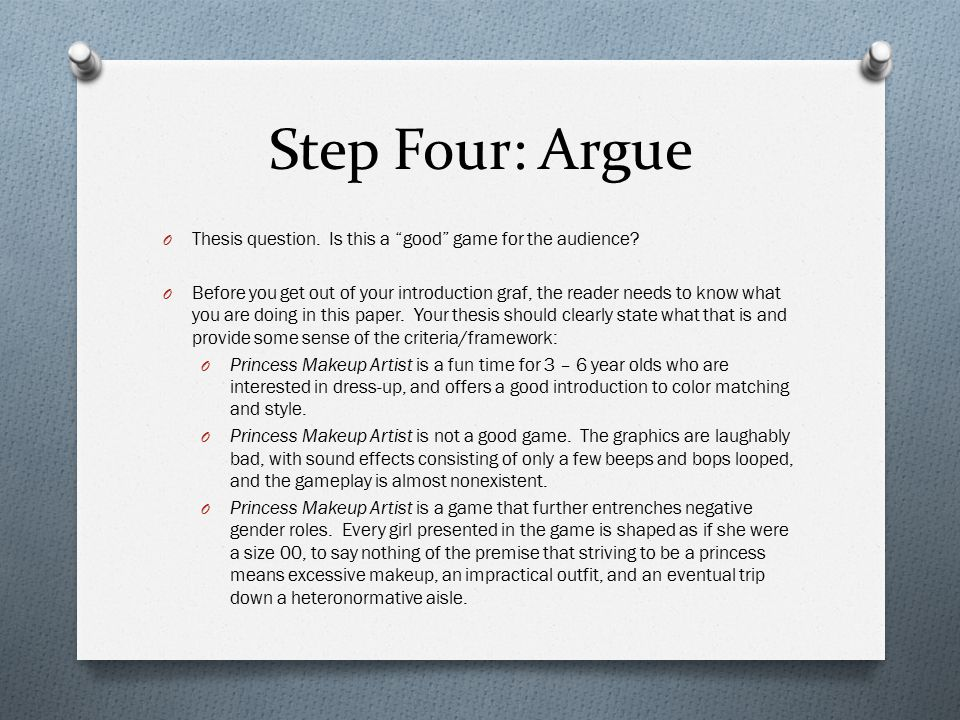 Step Four: Argue O Thesis question. Is this a good game for the audience.