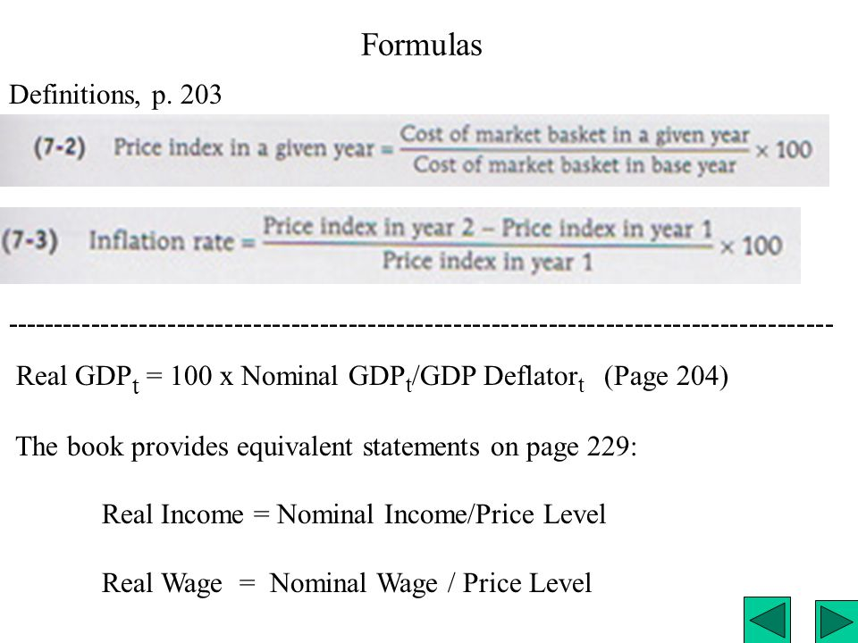 Table 7-2 p. 199. Nominal vs. Real GDP in US