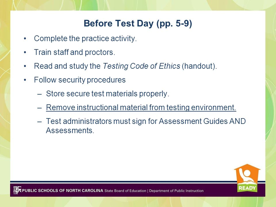 Before Test Day (pp. 5-9) Complete the practice activity.