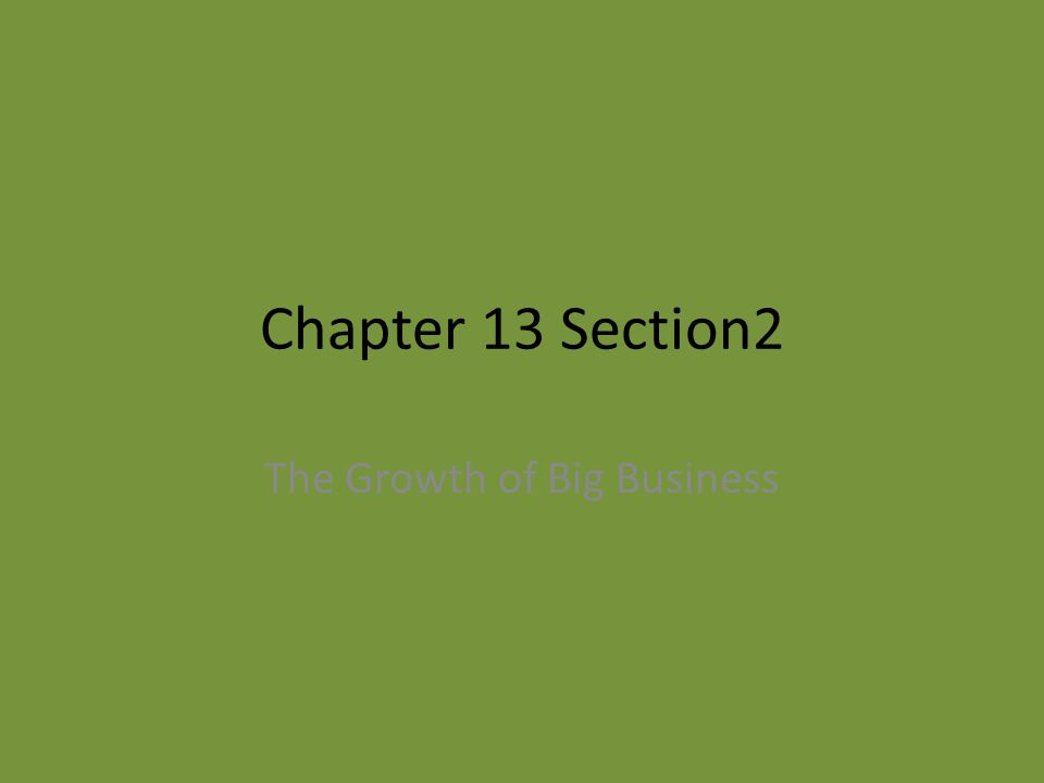 Chapter 13 Section2 The Growth of Big Business