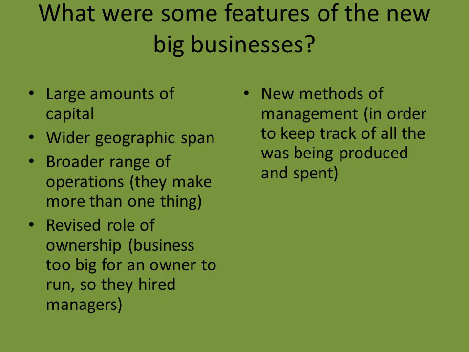 What were some features of the new big businesses.