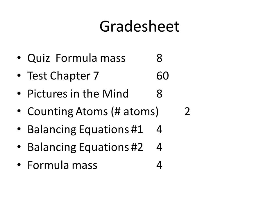 Gradesheet Quiz Formula mass8 Test Chapter 7 60 Pictures in the Mind8 Counting Atoms (# atoms)2 Balancing Equations #14 Balancing Equations #24 Formula mass4