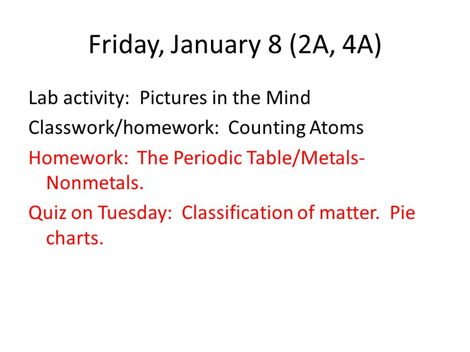 Friday, January 8 (2A, 4A) Lab activity: Pictures in the Mind Classwork/homework: Counting Atoms Homework: The Periodic Table/Metals- Nonmetals.