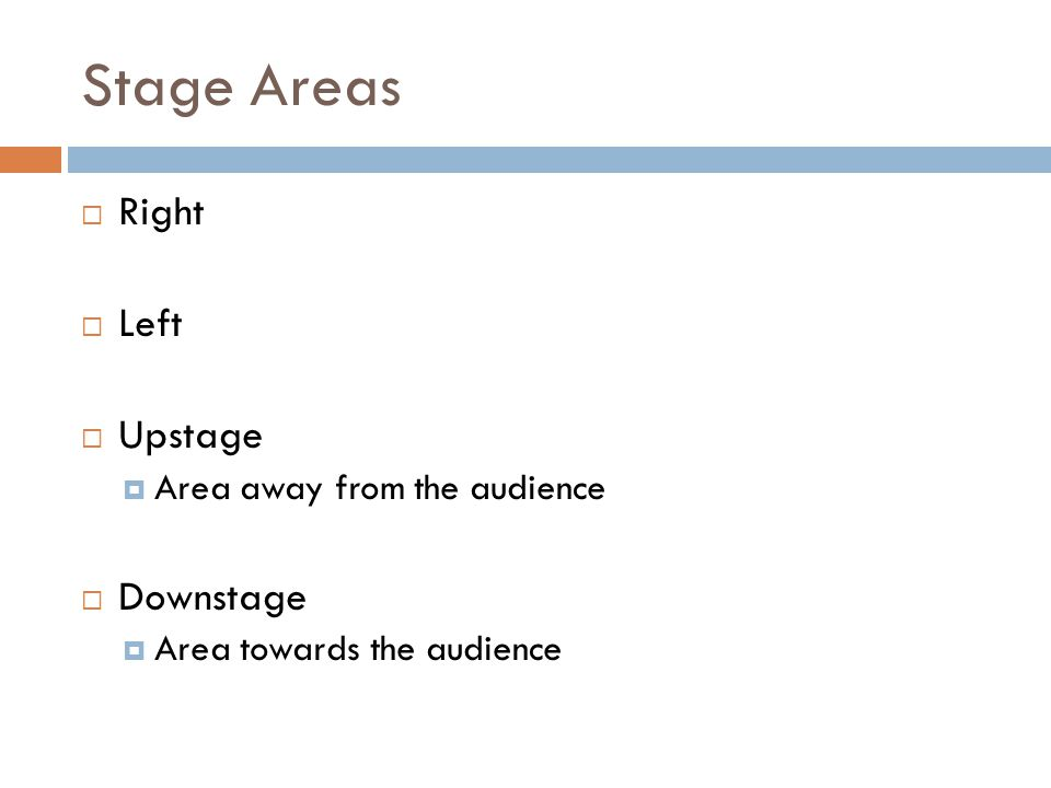 Stage Areas  Right  Left  Upstage  Area away from the audience  Downstage  Area towards the audience