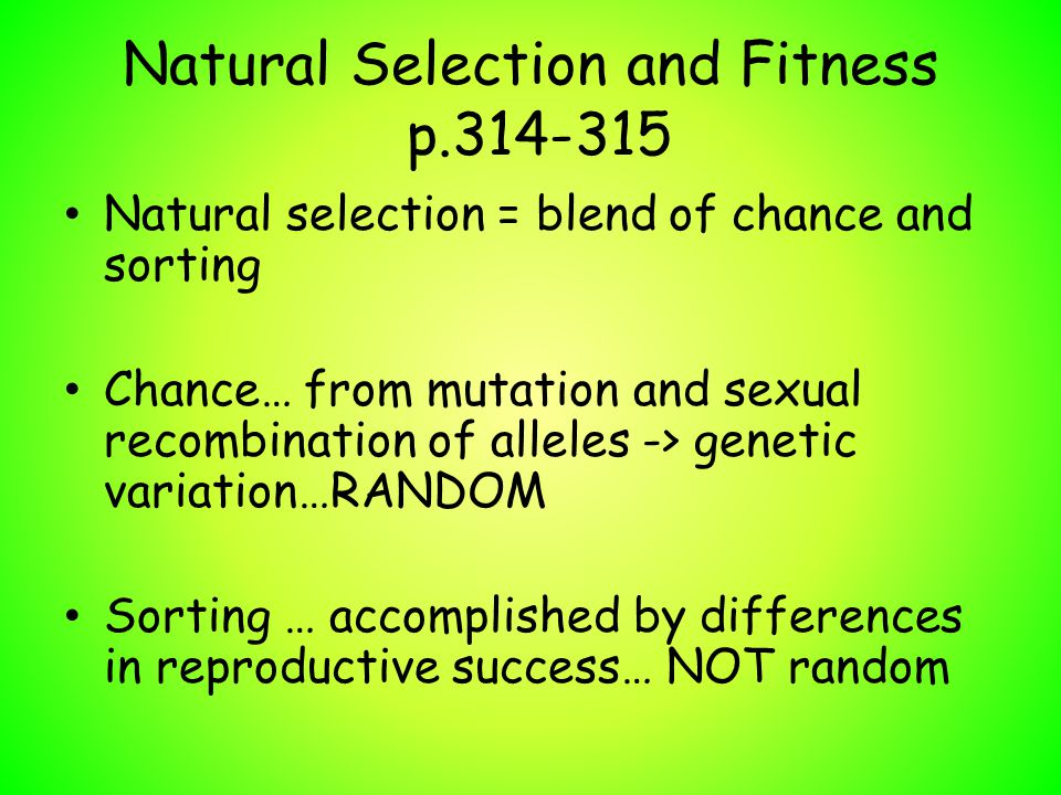 Natural Selection and Fitness p.314-315 Natural selection = blend of chance and sorting Chance… from mutation and sexual recombination of alleles -> g