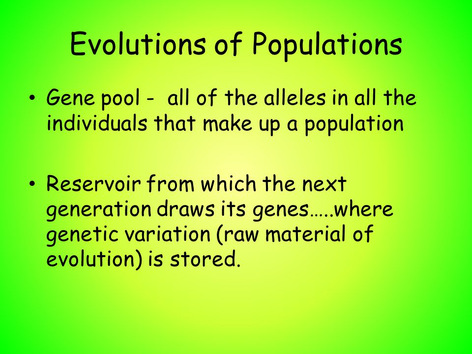 Evolutions of Populations Gene pool - all of the alleles in all the individuals that make up a population Reservoir from which the next generation dra