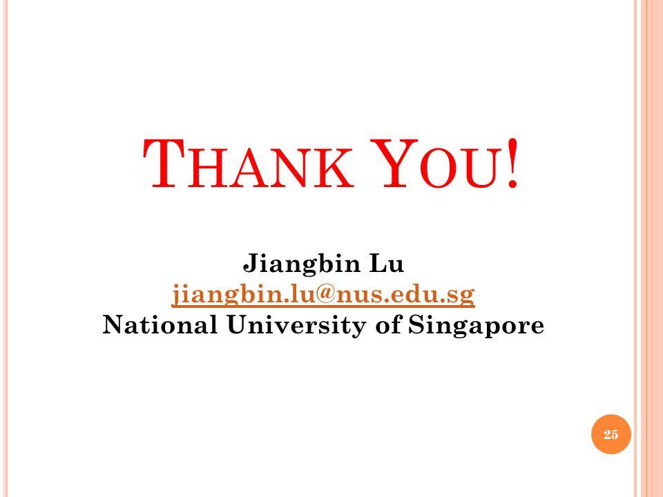 T HANK Y OU ! 25 Jiangbin Lu jiangbin.lu@nus.edu.sg National University of Singapore