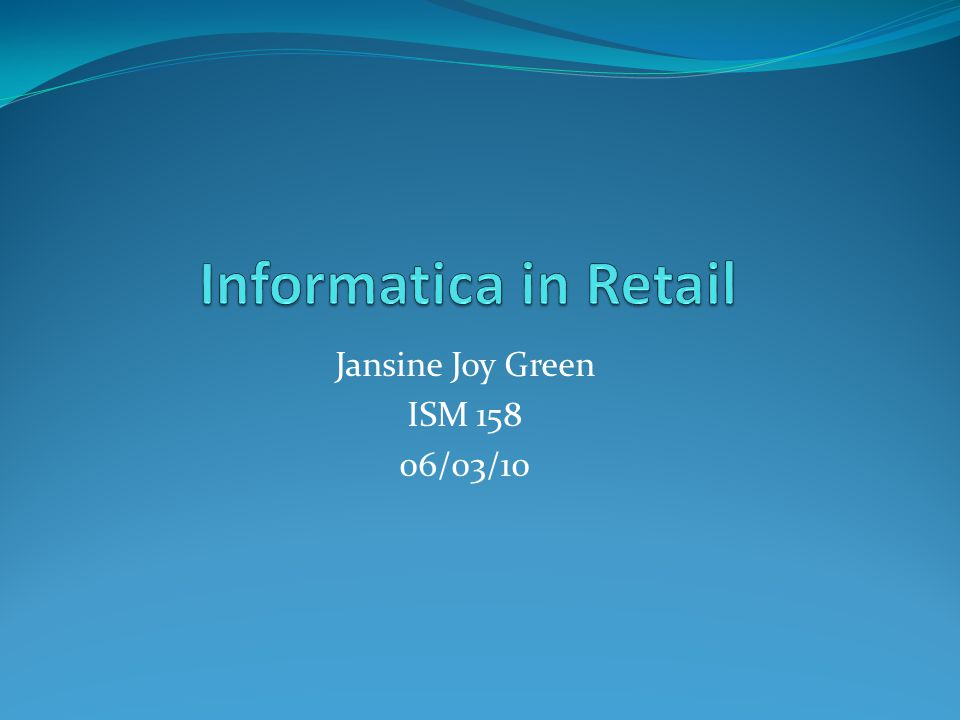 Jansine Joy Green ISM 158 06/03/10