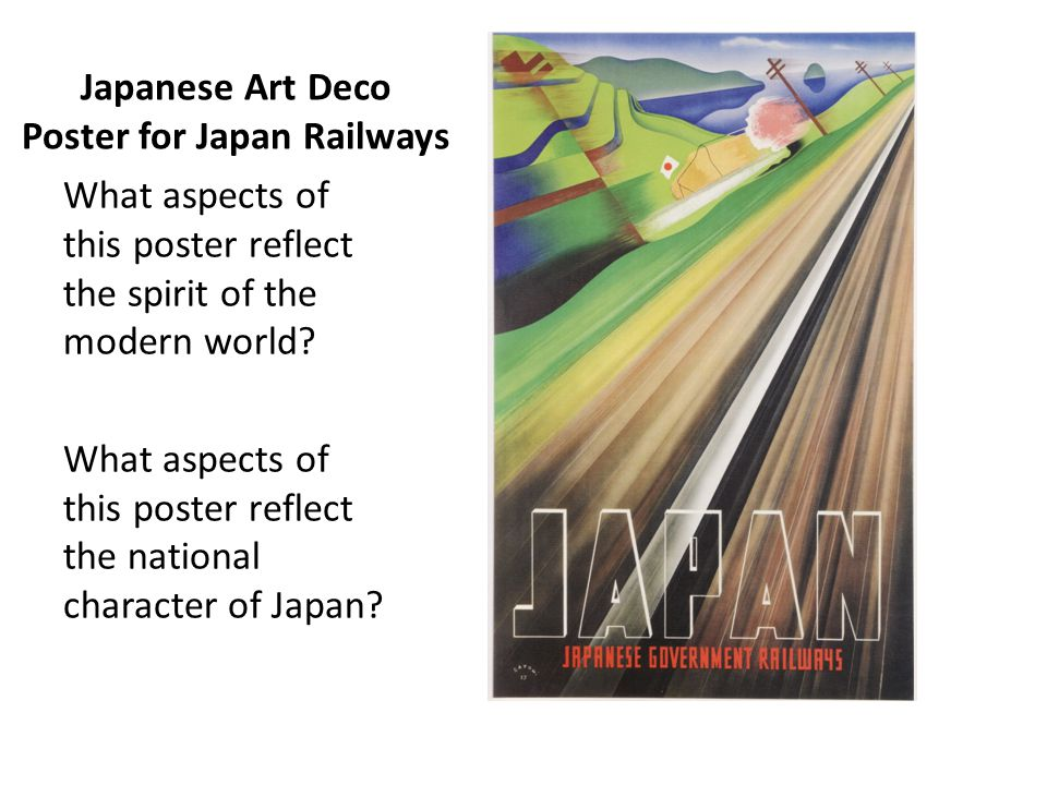 Japanese Art Deco Poster for Japan Railways What aspects of this poster reflect the spirit of the modern world? What aspects of this poster reflect th