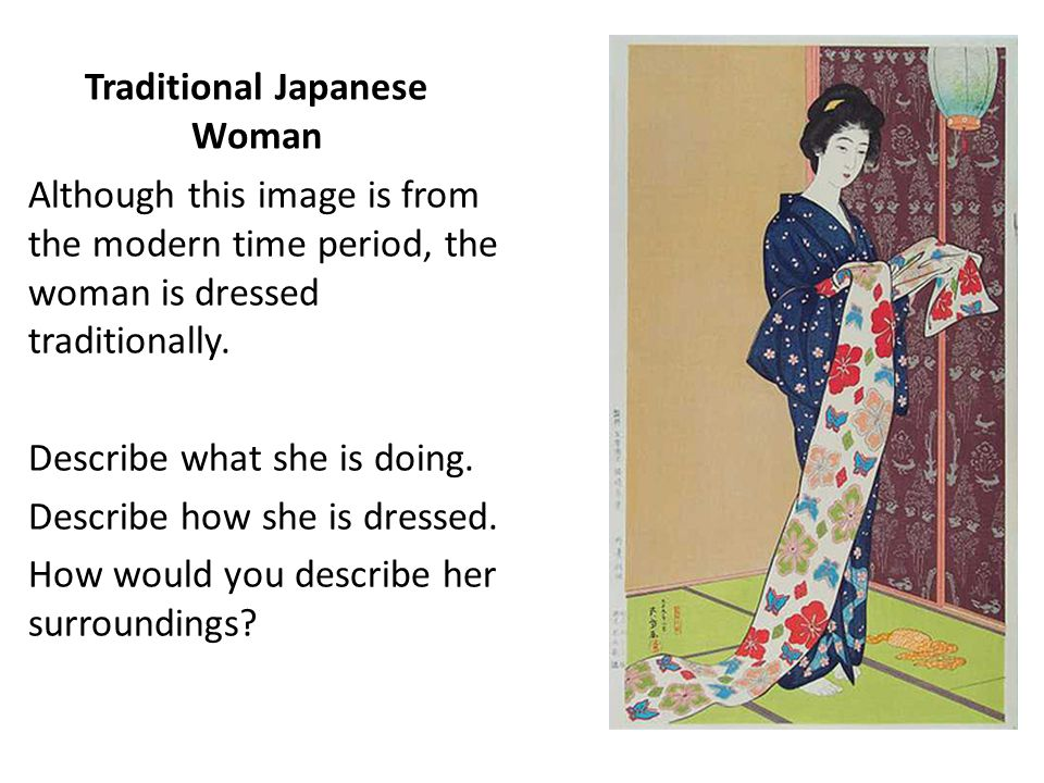 Traditional Japanese Woman Although this image is from the modern time period, the woman is dressed traditionally. Describe what she is doing. Describ