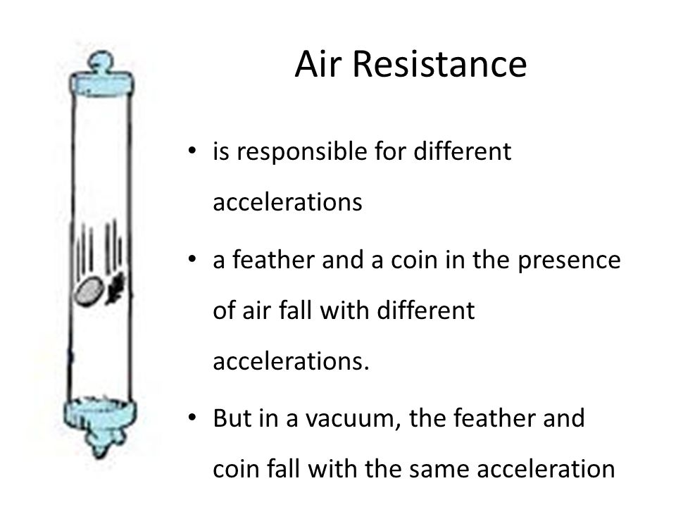 Air Resistance is responsible for different accelerations a feather and a coin in the presence of air fall with different accelerations.