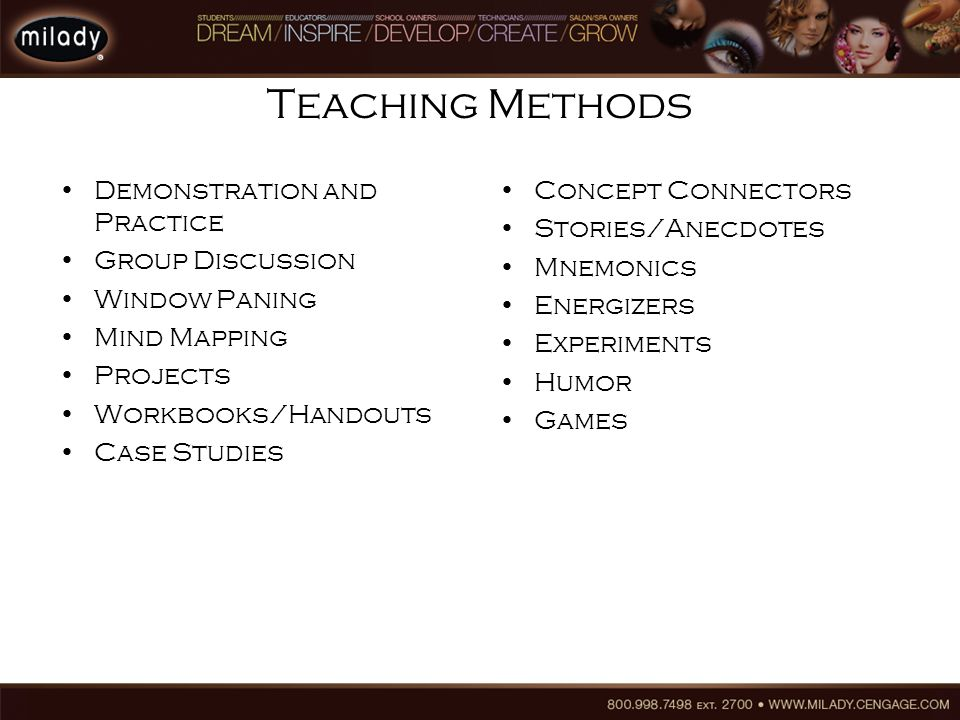 Teaching Methods Demonstration and Practice Group Discussion Window Paning Mind Mapping Projects Workbooks/Handouts Case Studies Concept Connectors Stories/Anecdotes Mnemonics Energizers Experiments Humor Games
