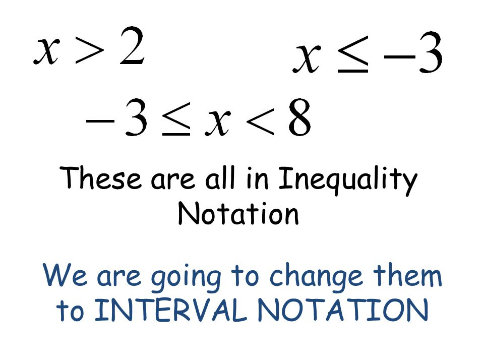 These are all in Inequality Notation We are going to change them to INTERVAL NOTATION