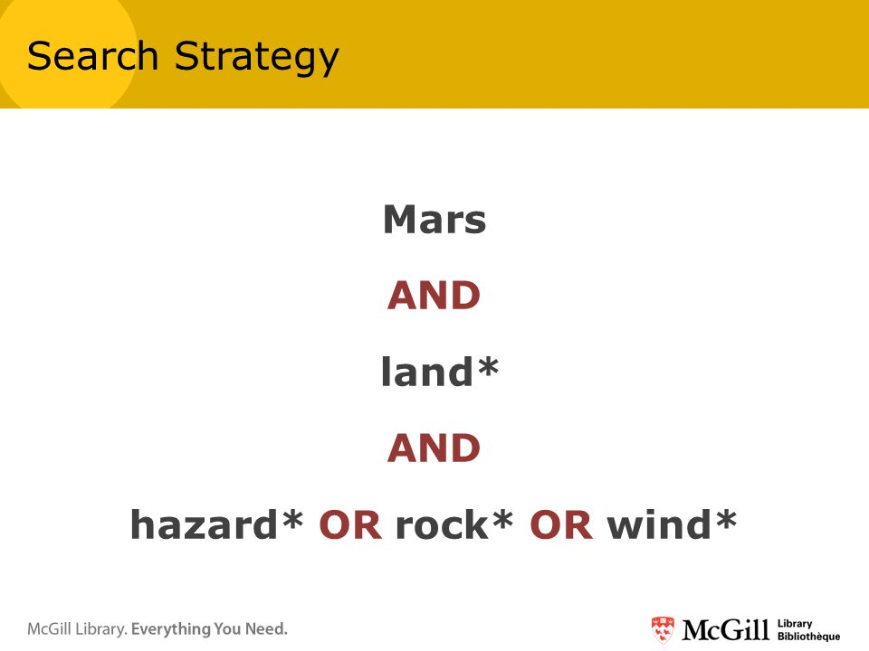 Mars AND land* AND hazard* OR rock* OR wind* Search Strategy