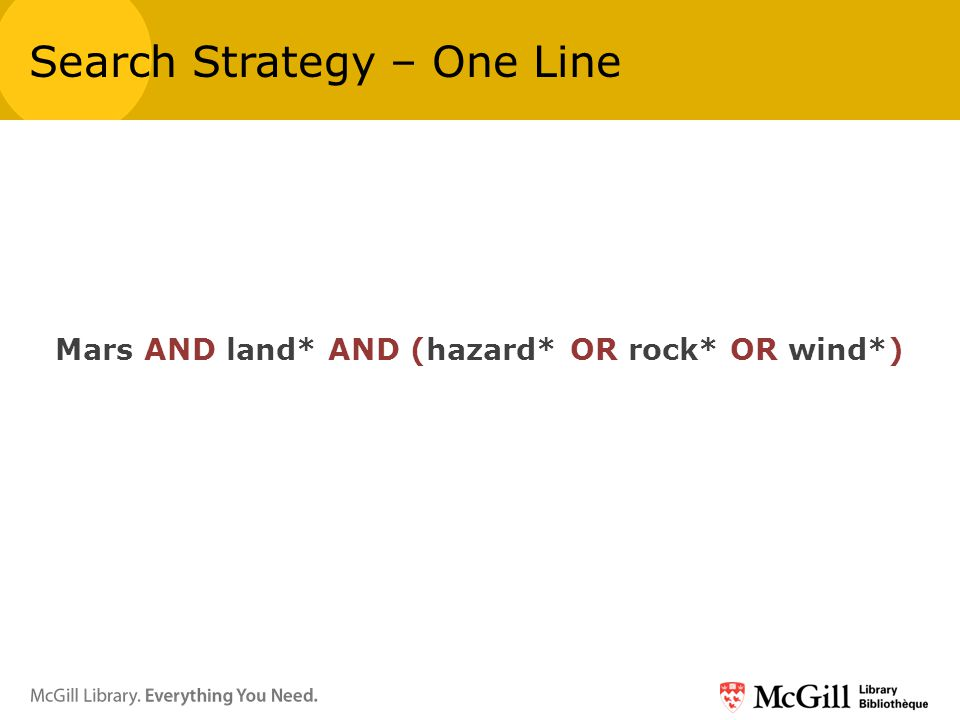 Mars AND land* AND (hazard* OR rock* OR wind*) Search Strategy – One Line