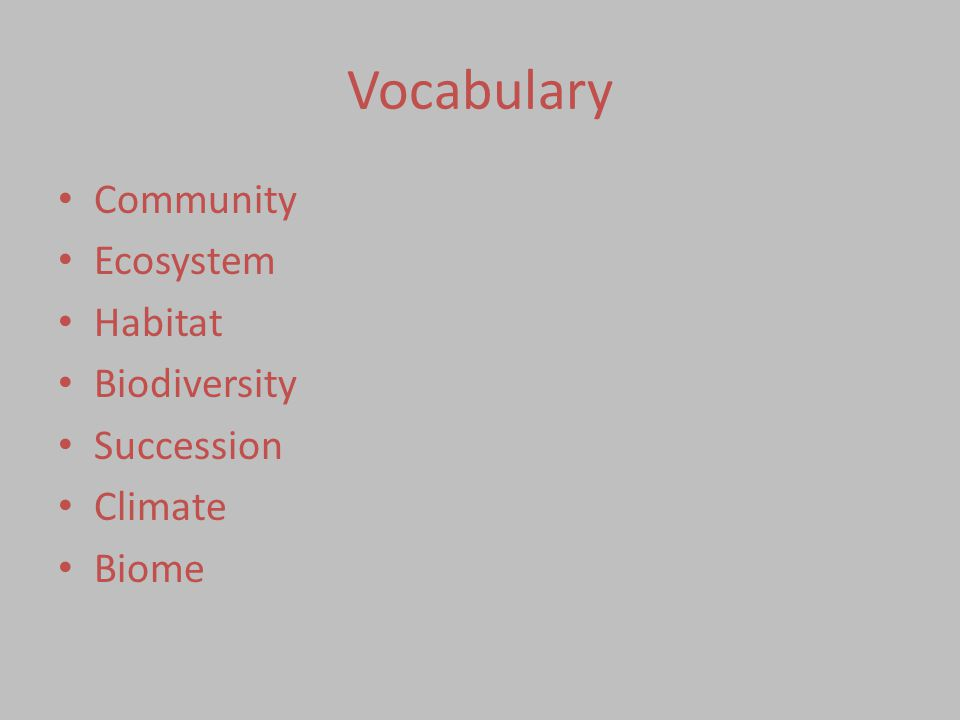 Vocabulary Community Ecosystem Habitat Biodiversity Succession Climate Biome