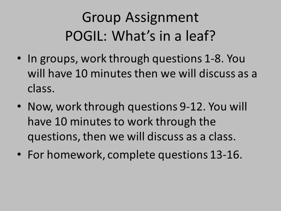 Group Assignment POGIL: What's in a leaf? In groups, work through questions 1-8. You will have 10 minutes then we will discuss as a class. Now, work t