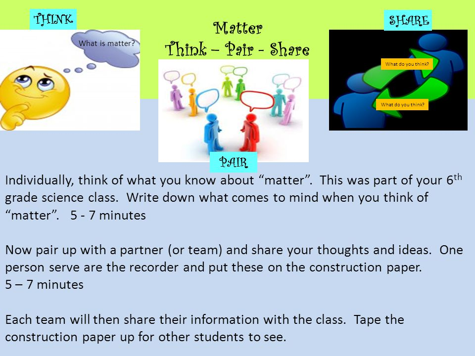 Matter Think – Pair - Share Individually, think of what you know about matter .