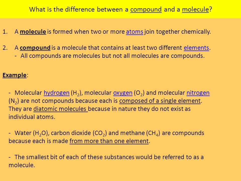 What is the difference between a compound and a molecule.