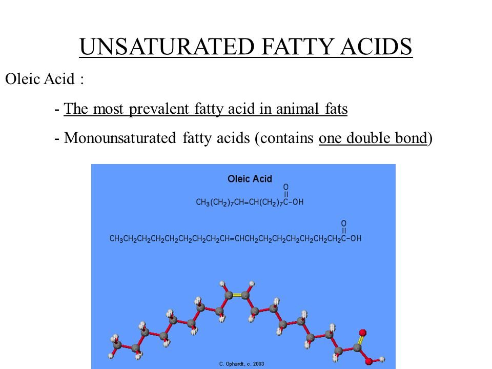UNSATURATED FATTY ACIDS Oleic Acid : - The most prevalent fatty acid in animal fats - Monounsaturated fatty acids (contains one double bond)