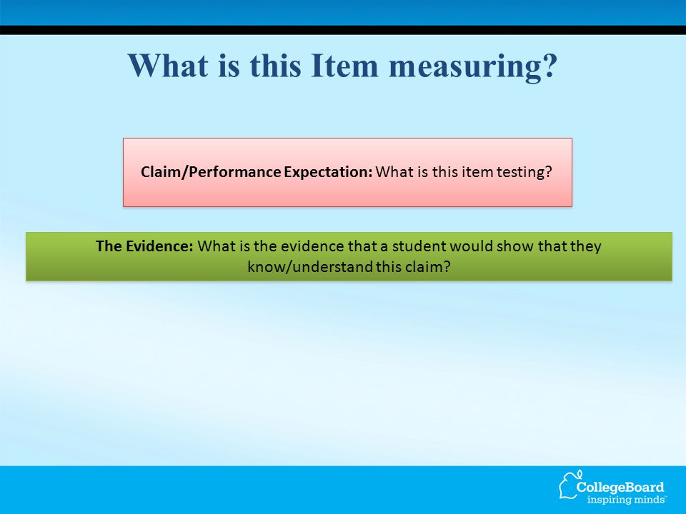 What is this Item measuring. Claim/Performance Expectation: What is this item testing.
