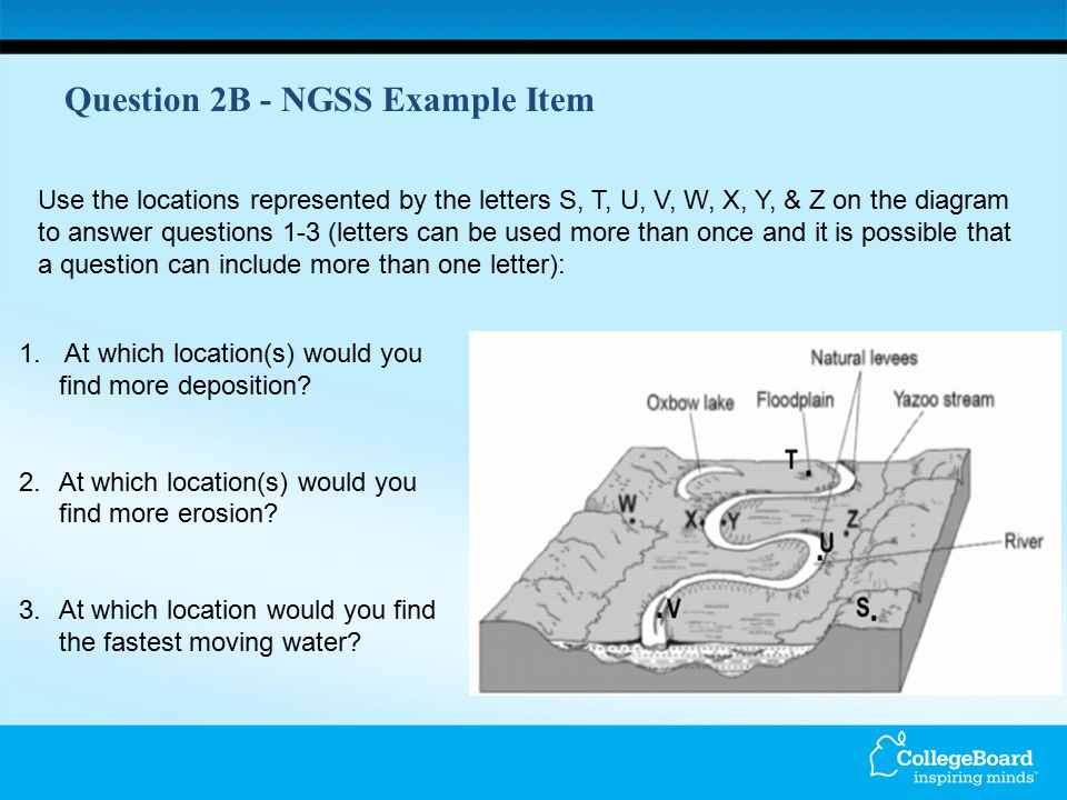 Question 2B - NGSS Example Item 1. At which location(s) would you find more deposition? 2.At which location(s) would you find more erosion? 3.At which