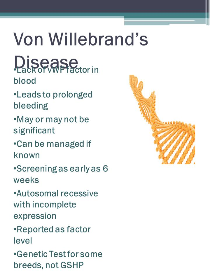 Von Willebrand's Disease Lack of vWF factor in blood Leads to prolonged bleeding May or may not be significant Can be managed if known Screening as early as 6 weeks Autosomal recessive with incomplete expression Reported as factor level Genetic Test for some breeds, not GSHP