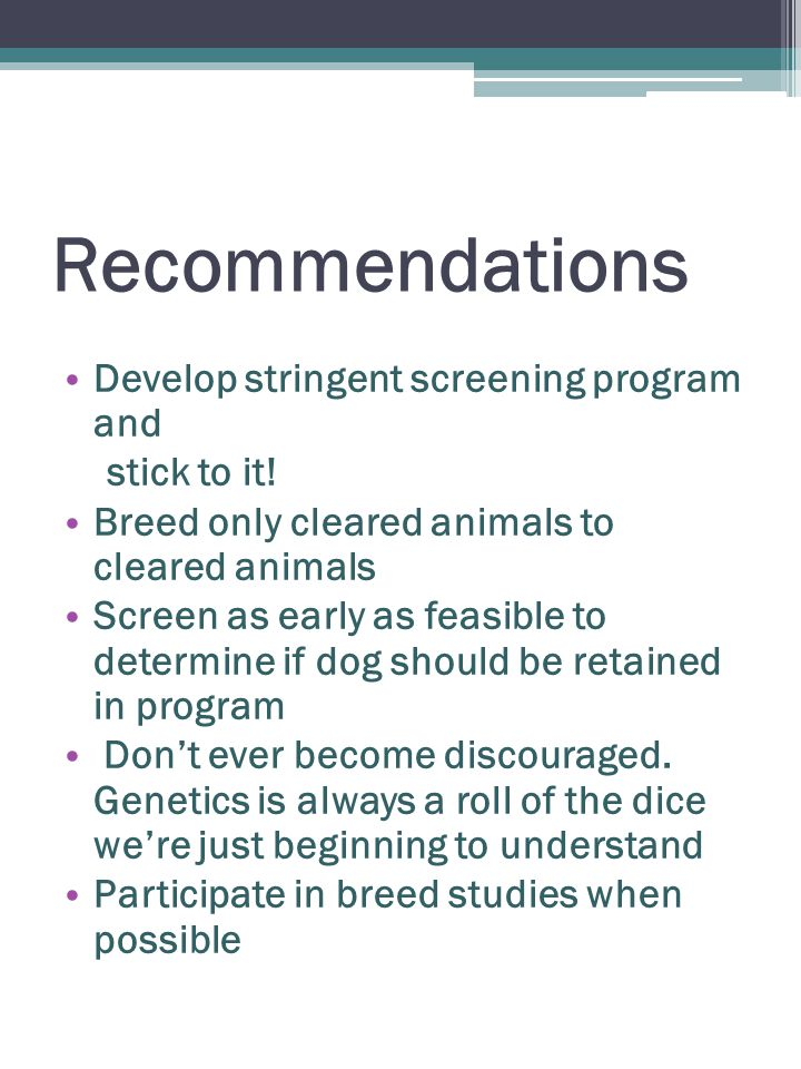 Recommendations Develop stringent screening program and stick to it.