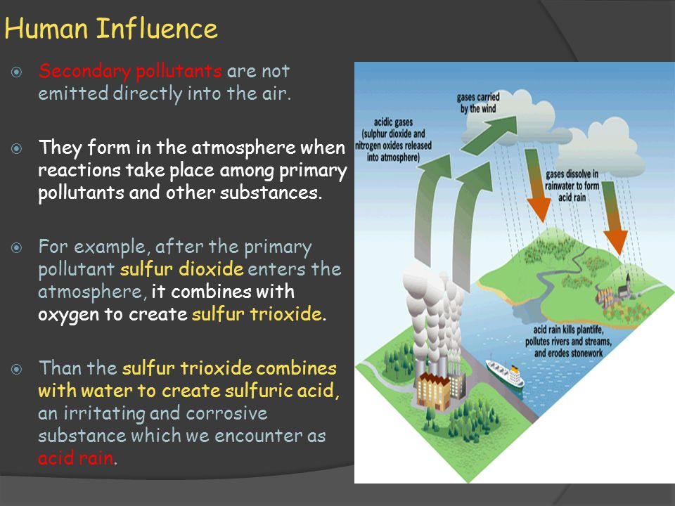 Human Influence  Secondary pollutants are not emitted directly into the air.  They form in the atmosphere when reactions take place among primary po