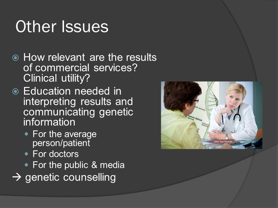 Other Issues  How relevant are the results of commercial services.