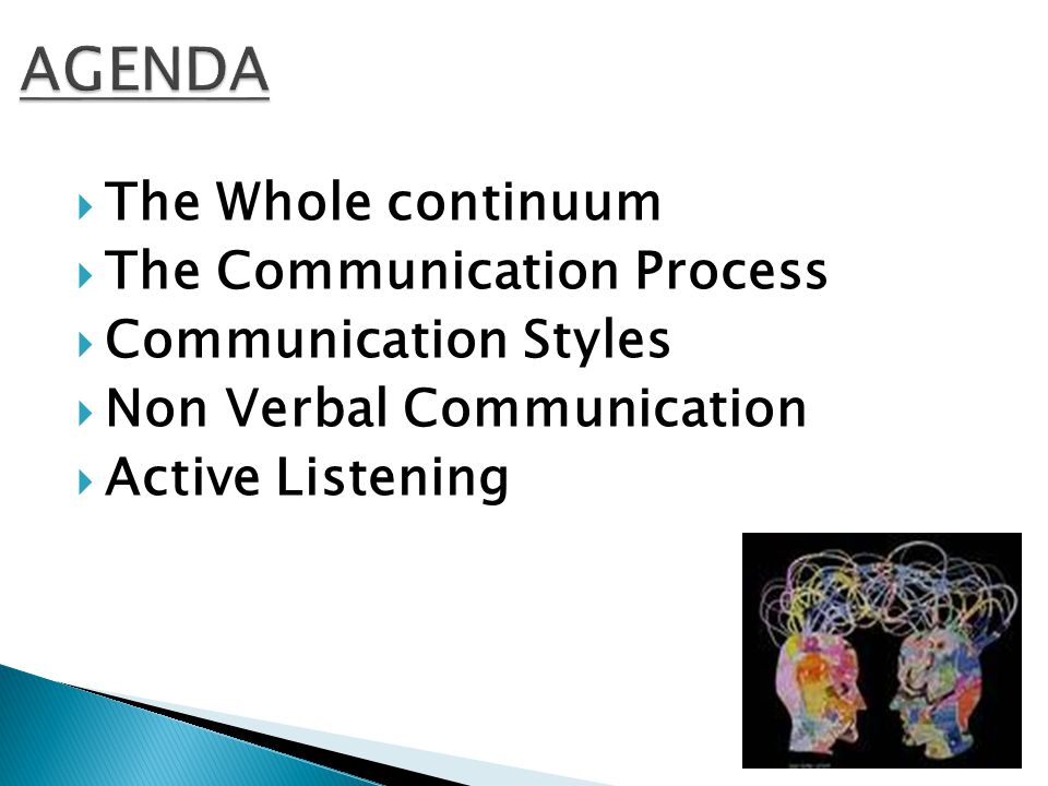  The Whole continuum  The Communication Process  Communication Styles  Non Verbal Communication  Active Listening