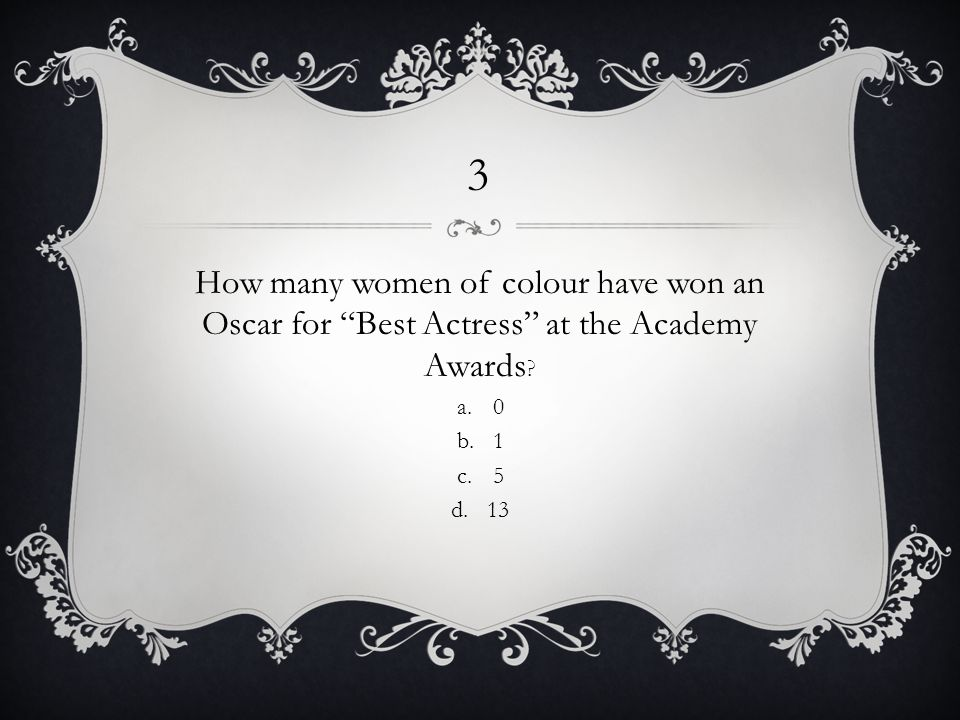 3 How many women of colour have won an Oscar for Best Actress at the Academy Awards .